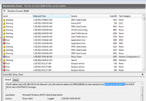 event viewer 1-28-13 DHCP-Client error.png