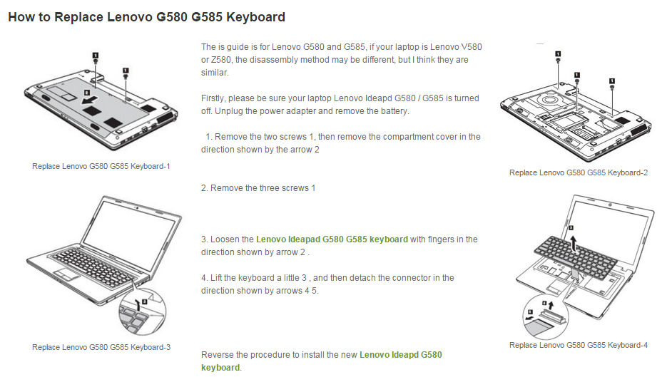 Lenovo G580 Keyboard Removal  Replacement
