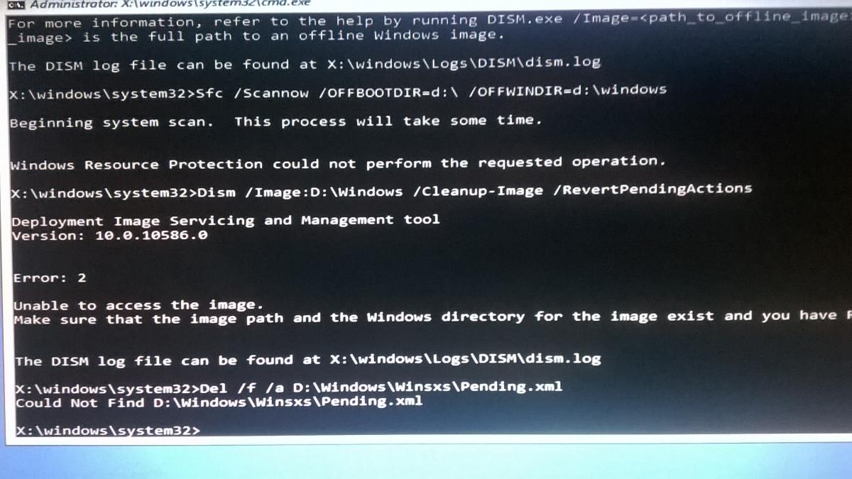 windows resource protection could not perform the requested operation.