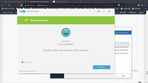 Eset online scanner NO viruses or infections found.png