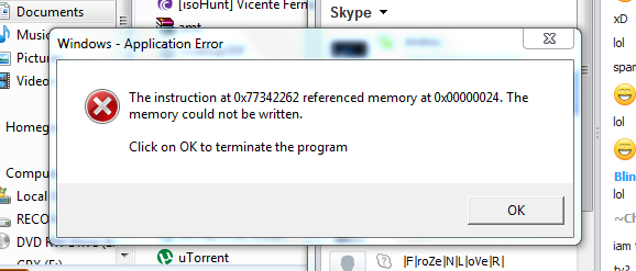 The Instruction At 0x72cd851drefrenced Memory At 0x0 Windows Xp
