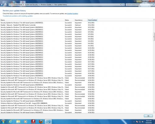 Screen Capture of Update History with Initial and Repeated Successful Installations of KB2556532 (9-19-2011).jpg