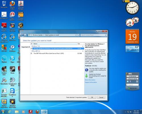 Screen Capture of Recommended Updates following repeated Successful Installations of KB2556532 (9-19-2011).jpg