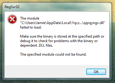 Regsvr32 module failed to load error on startup - Virus, Spyware