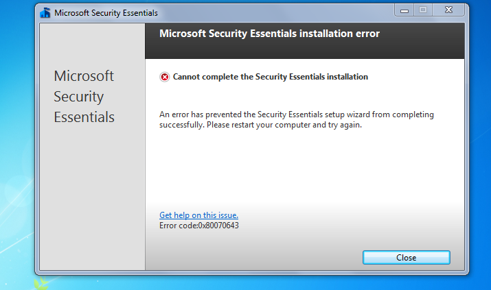 код ошибки 0x80070643 microsoft security essentials