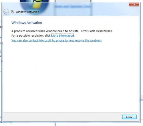 screen shot after attempt to activate windows with  win7ULTIMATE key.JPG
