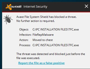 Olde Timer TFC blocked by Avast - Applications